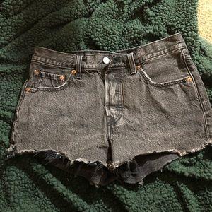 Acid wash black, high waisted Levi's shorts